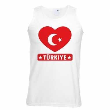 Tanktop wit turkije vlag in hart wit heren