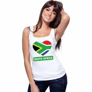 Tanktop wit zuid-afrika vlag in hart wit dames