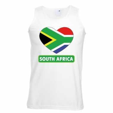 Tanktop wit zuid afrika vlag in hart wit heren