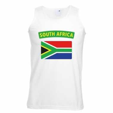 Tanktop wit zuid afrika vlag wit heren