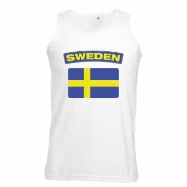 Tanktop wit zweden vlag wit heren