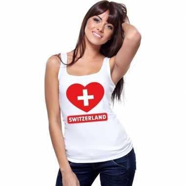 Tanktop wit zwitserland vlag in hart wit dames