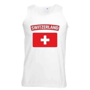 Tanktop wit zwitserland vlag wit heren
