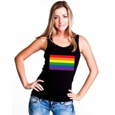 Tanktop zwart regenboog vlag zwart dames