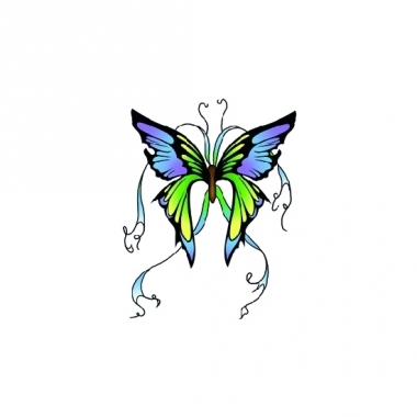 Tatoeage glitter vlinder groen/blauw