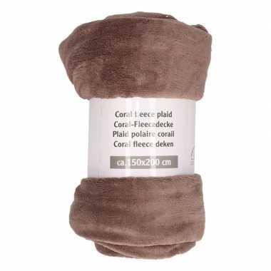 Taupe fleece plaid/dekentje 150 x 200 cm