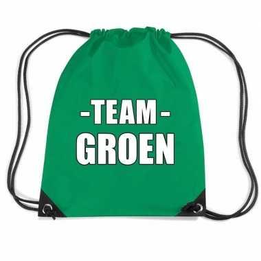 Team groen rugtas voor bedrijfsuitje