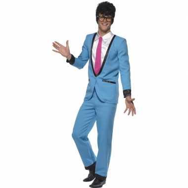 Teddy boy blauw heren kostuum