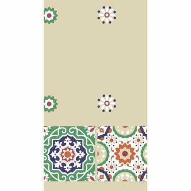 Tegelprint gekleurd tafelkleed/tafellaken 138 x 220 cm van papier