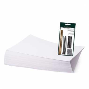 Tekenpakket met houtskool potloden en stiften