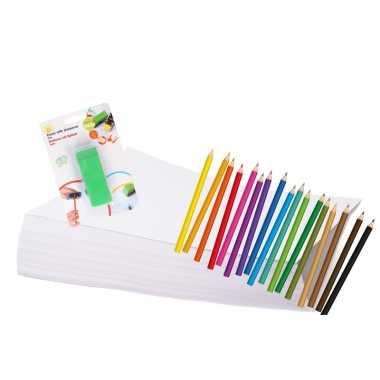 Tekenpakket met potloden en gum