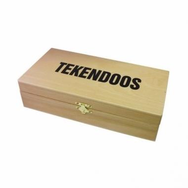 Tekenspullen doos van hout