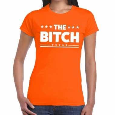 The bitch tekst t-shirt oranje dames