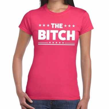The bitch tekst t-shirt roze dames