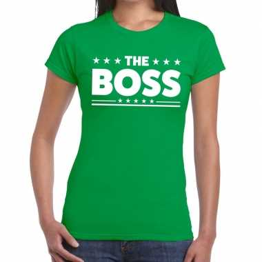 The boss tekst t-shirt groen dames