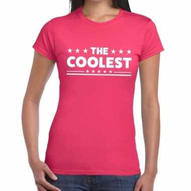 The coolest tekst t-shirt roze dames