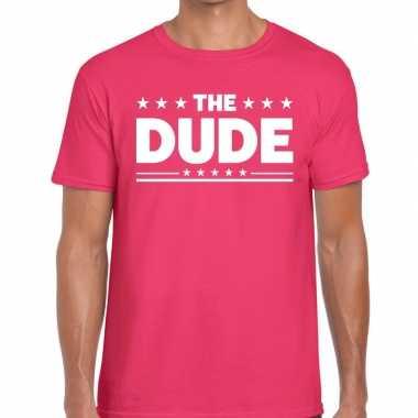 The dude t-shirt roze heren