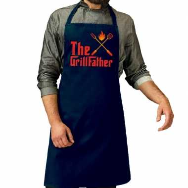 The grillfather barbecue schort / keukenschort navy voor heren