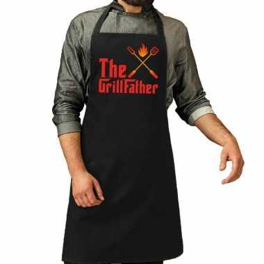 The grillfather barbecue schort / keukenschort zwart voor heren