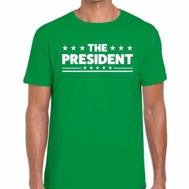 The president tekst t-shirt groen heren