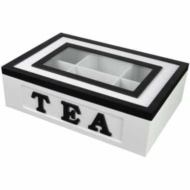 Theedoos 6 vaks tea wit met zwart