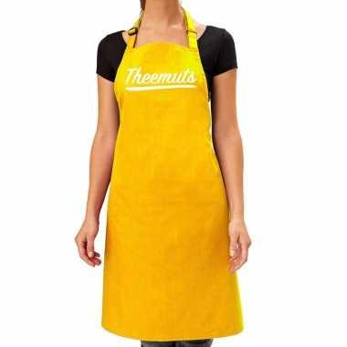 Theemuts keukenschort geel voor dames