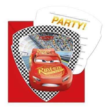Themafeestje cars uitnodigingen 12 stuks
