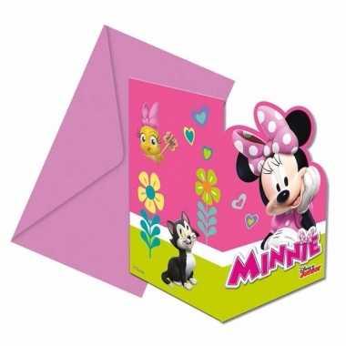 Themafeestje minnie mouse uitnodigingen 12 stuks