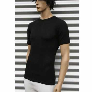Thermo shirt zwart met korte mouwen volwassenen