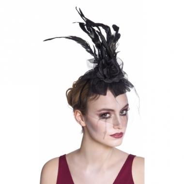 Tiara met zwarte roos en sluier