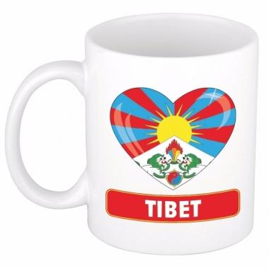 Tibetaanse vlag hart mok / beker 300 ml