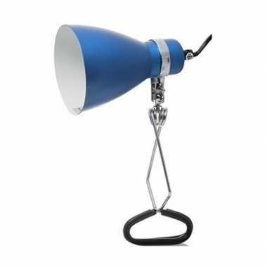 Tijdelijke lamp/klemlamp blauw 11 x 28 cm