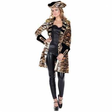 Tijgerprint verkleed jas voor dames