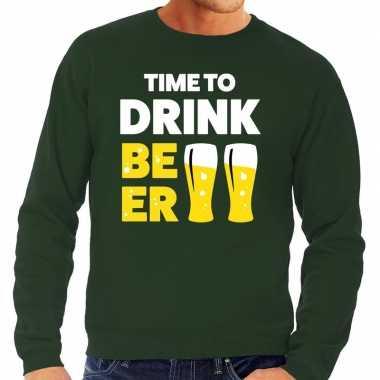 Time to drink beer tekst sweater groen voor heren