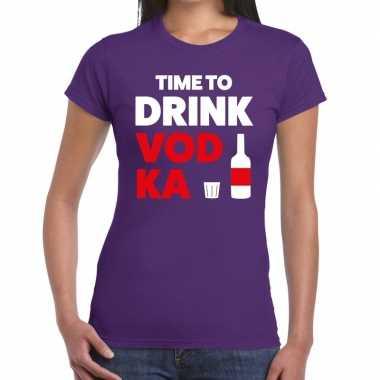 Time to drink vodka tekst t-shirt paars dames