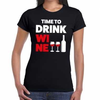 Time to drink wine tekst t-shirt zwart dames