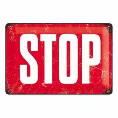 Tinnen muurplaatje stopbord