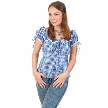 Tiroler shirt blauw met wit dames