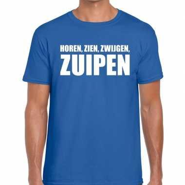 Toppers - horen zien zwijgen zuipen heren t-shirt blauw