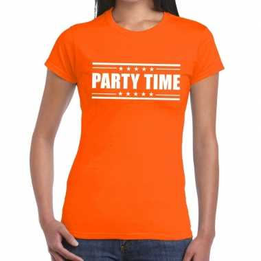 Toppers - party time t-shirt oranje dames
