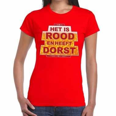 Toppers - rood het is rood en heeft dorst t-shirt dames