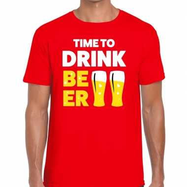 Toppers - time to drink beer heren t-shirt rood