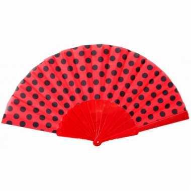 Traditionele handwaaier rood zwart