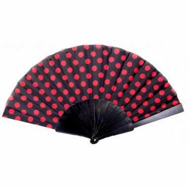 Traditionele handwaaier zwart rood