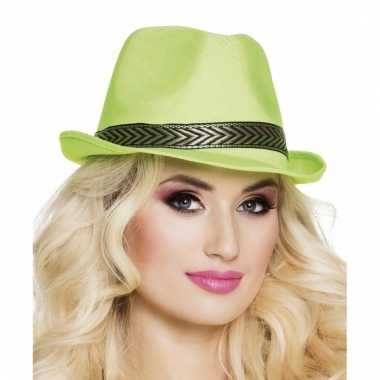 Trilby hoed lime groen voor volwassenen