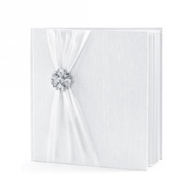 Trouwerij gastenboeken wit met rozet