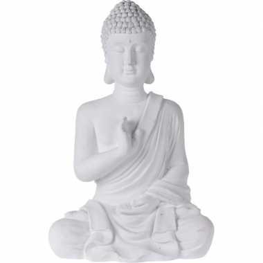 Boeddha Beeld Beton.Tuinbeeld Witte Boeddha Van Beton 54 Cm