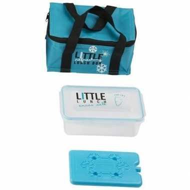 Turkoois blauw klein koeltasje met lunch box en koelelement