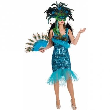 Turquiose glitter jurk met pauwveren