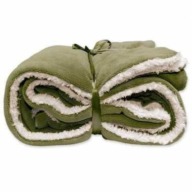 Tweepersoons bedsprei/plaid olijf groen/wit 150 x 200 cm nepbont/zach